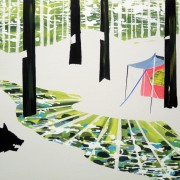 Camping in the forest - 50x70